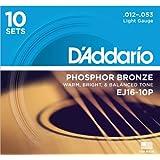 D'Addario ダダリオ アコースティックギター弦 フォスファーブロンズ Light .012-.053 EJ16-10P 10set入りパック 【国内正規品】