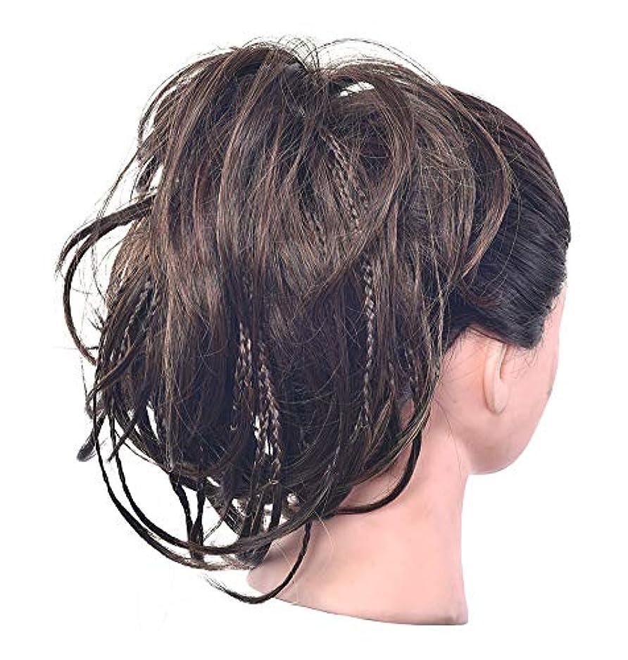 文法統治可能スクランブルポニーテールドーナツシニョンアップリボンアクセサリー、女性のためのカーリー波状の作品、乱雑なシュシュ毛のパン拡張機能