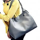 (ガラ-ボ) バッグ レザーバッグ かばん 鞄 2つセット 通勤 通学 就職活動 大人 きれいめ A4 入る 学生 (ダークグレー)