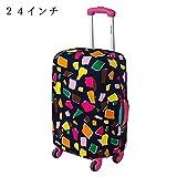 スーツケースカバー 旅行 キャリー バッグ かばん ラゲッジ カバー スパンデックス 盗難 間違い 防止 (M, 多角形)