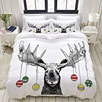 VAMIX 布団カバー シングル 3点セット,クリスマスの飾り付きクリスマスムース角からぶら下がってボールおかしいノエルスケッチArt, ベッド用 掛け布団 + 枕 カバー 洋式 和式兼用175 x 210cm