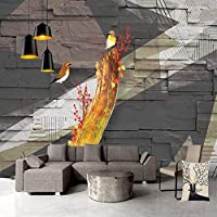 3D壁画壁紙ヴィンテージ木製パターン花と鳥抽象芸術大きな壁画壁画研究寝室の背景装飾 220cm x 140cm