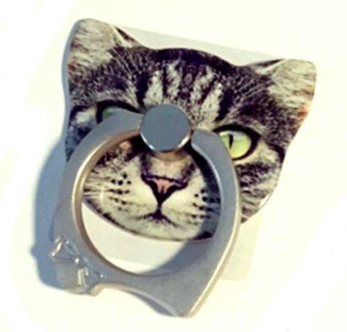 【Gaviota】 ねこ の iRing iphone スマホ タブレット を 持ちやすく CAT バンカーリング iPad iPod Galaxy Xperia 簡単装着 で 落下防止 スタンド機能 あり (トラ猫)