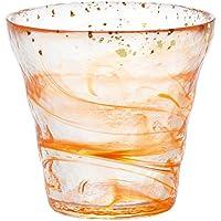 アデリア 津軽びいどろ ロックグラス オレンジ 300ml 氷華金彩 オールドグラス 夕 専用木箱入 日本製 F71468