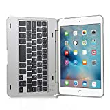 iPad mini4 ケース,IVSO®オリジナルiPad mini4 ケース,iPad mini4 専用 超薄型Bluetooth接続キーボード 内蔵アルミケース キーボード兼スタンド兼カバー - iPad mini4だけ 適用(シルバー)