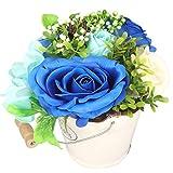 Fauhal 創意プレゼント ソープフラワー 造花 白い陶器フレグランス シャボンフラワー 枯れない花 インテリアプレゼント クリスマス バレタインダー お誕生日 記念日 結婚お祝い 母の日 カード (青い)