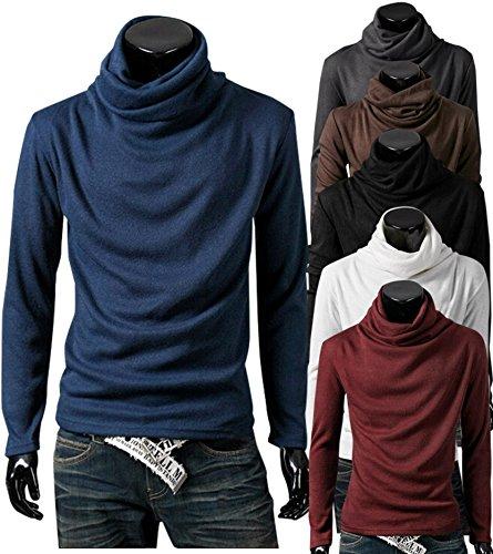 (マリッチ) Maritch メンズ タートル ネック ハイネック 長袖 ロング Tシャツ カットソー (XL, グレー)