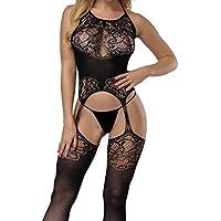 Kwok Sexy Women Fishnet Dress Skirt Allure Bikini Lingerie Suit Open Underwear Attractive Hollow Out Swimsuits Black