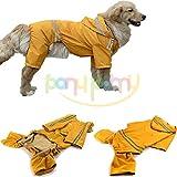 大型犬 中型犬 用 ペットレインコートキャップと大きな犬の犬の防水ジャケットへの媒体のためのペットの犬の子犬の防水レインコート雨スリッカー・レインポンチョ(Price Xes) (イエロー, 4XL)