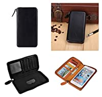 DFV mobile - Executive Wallet Case with Magnetic Fixation and Zipper Closure for => HIGHSCREEN BOOST > Black