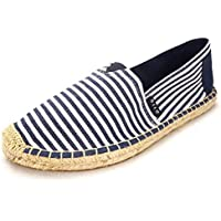 Espadrille Flats for Women, Slip on Espadrille Loafers Sneakers Shoes Navy Blue Tan Brown Rose Gold Silver Red Ladies Canvas/Faux-Suede Espadrilles for Women(04-9-87 / Navy, US-6)