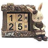 [Fumemo] 卓上 カレンダー 万年 永久 カレンダー インテリア 置物 かわいい 動物 うさぎ