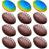 (9 Brown + 3 Rainbow) - Football Toys for Kids Party Favour 12 Pack Foam Stress Balls American Footballs Rugby Squeeze Sports Ball (9 Brown + 3 Rainbow)