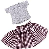 Prettyia カジュアル 12インチブライス アゾン リカドールのため トップス スカート 人形服 全4色 - 灰色と茶色