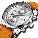[メガリス]MEGALITH 腕時計 時計メンズ クロノグラフ防水ウオッチシルバー 多針アナログクオーツ腕時計レザー 日付表示 ラグジュアリー おしゃれ ビジネス カジュアル 男性腕時計ブラウン