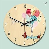 ヨーロッパの現代漫画の木の壁の時計捺印シンプルなクリエイティブな女の子の装飾のリビングルームのベッドルームミュートカラフルなラウンド28 * 28センチメートル,C