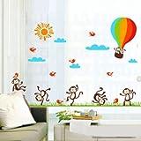 太陽 雲 鳥 ベビールーム 熱気球 ウォールステッカー かわいい猿 wall sticker ウォールペーパー インテリア デコレーション 60*90cm