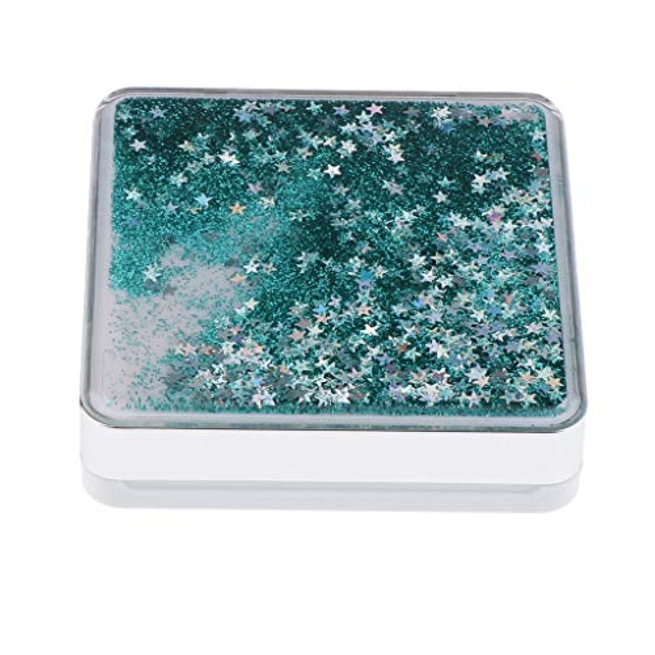 小麦静的抽出エアクッションケース パフ 化粧鏡 ミラー付き コンパクト 旅行小物 化粧品ケース 3色選べ - 緑