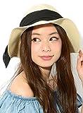 ブラック F (ディーループ)D-LOOP UV カット 遮蔽率90%以上 スエード リボン 付き ハット 女優帽 紫外線対策 中折れ つば広 レディース ハット 日よけ かわいい おしゃれ 日除け つばひろ 中折ハット ペーパーハット カンカン帽 ストローハット 麦わら 帽子 ぼうし つば広帽子 122161-010-001