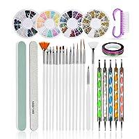 ATOMUSネイルアートブラシ ネイル筆 ドットペン 37点セット ネイル ラインストーン ラインテープ ネイル用品
