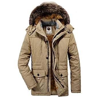 Quatchi モッズコートメンズアウター中綿ダウンジャケット大きいサイズコート防寒防風厚手アウトドアファー付き冬服