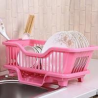 YI LU Deng JU- 食器収納ボックス、食器を置くドリップラック、キャビネットアングルフレーム、キッチンドレッサーボウル (色 : Pink, サイズ さいず : 43.5 * 23 * 17.5cm)