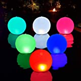 """Floating Pool Lights Inflatable Waterproof IP68 Solar Glow Globe,14"""" Outdoor Pool Ball Lamp 4 Color Changing LED Night Light,"""