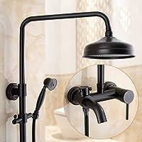 シャワートイレブラスホット&コールドの蛇口シャワーセットアンティーク銅コンチネンタル、黒