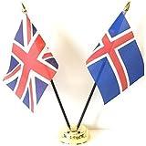emblems-giftsイギリス&アイスランドダブル友情テーブル国旗セット+ベース