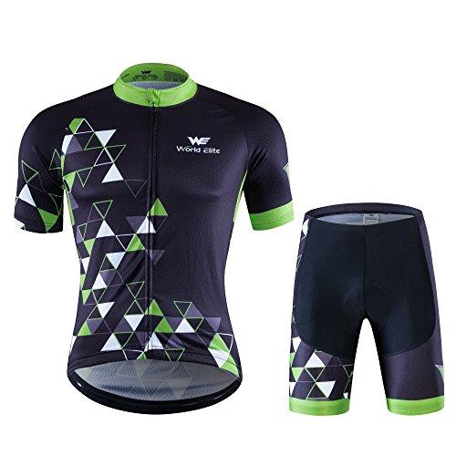 World Elite 半袖 サイクルジャージ 上下セット 自転車ウエア 半袖ウェアセット メンズ ツーリング時期春夏秋用 速乾吸汗 通気がいい XL