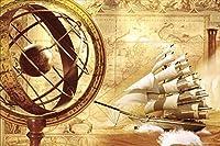 Ansyny 3 D写真の壁紙カスタムリビングルーム壁画不織ステッカー航海古代地図画像絵画ソファテレビ背景壁紙-160X120CM