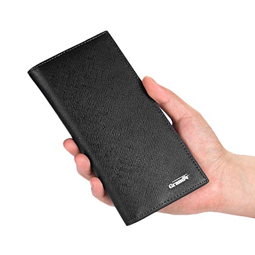 【Grandir】 薄型 長財布 メンズ 財布 薄い シンプル レザー 全3色 (ブラック)