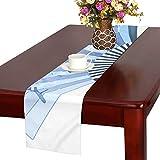 LKCDNG テーブルランナー ブルー 和風の扇子 クロス 食卓カバー 麻綿製 欧米 おしゃれ 16 Inch X 72 Inch (40cm X 182cm) キッチン ダイニング ホーム デコレーション モダン リビング 洗える