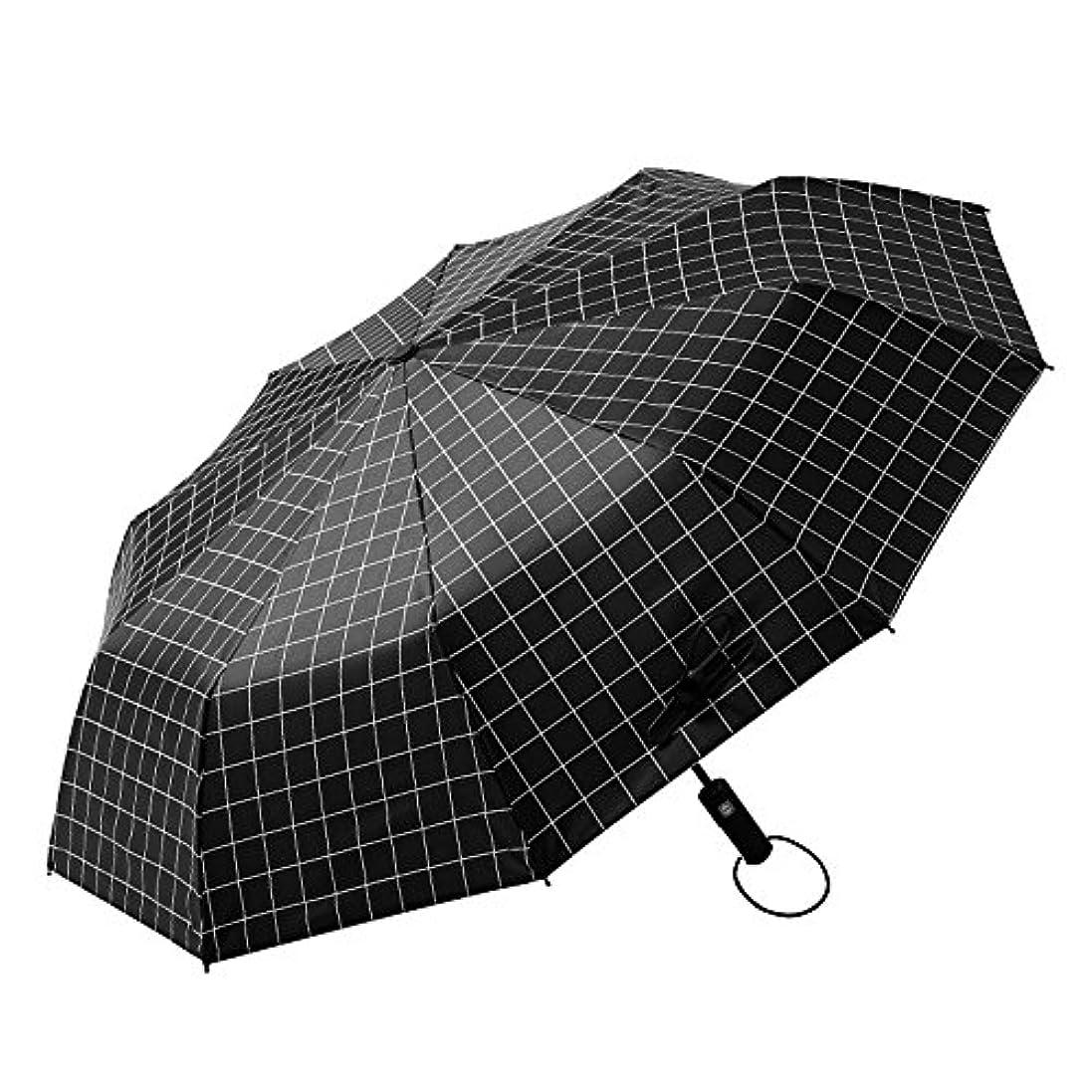 ナインへフェードアウトとしてXRXY 自動Gridded 3つの傘/大規模な二重使用抗UV日傘/実用的な旅行ポータブル傘/パラソル ( 色 : ブラック , サイズ さいず : Automatico )