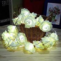 LEDライト ローズ フラワー イルミネーションライト 20球LED バラ デコレーション ストリングライト パーティー/結婚式/クリスマス 飾りライト インテリア 装飾ライト ローズストリングライト DIY ロマンティック 薔薇の花 電飾 2発光モード (ホワイト)