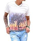 ジョーカーセレクト(JOKER Select) 半袖Tシャツ メンズ Vネック ヤシの木 プリント M オフホワイト