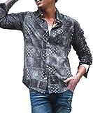 ディバイナー(DIVINER) 長袖シャツ メンズ ワークシャツ 長袖 シャツ タイダイ ペイズリー バンダナ 総柄 M ブラック