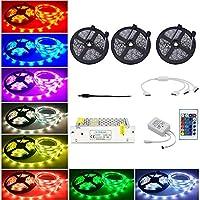 LEDテープ15メートル/ 49.2フィート450 5050 RGB Ledストリップライトで24キーリモートコントロール用ホーム照明キッチンベッドフレキシブルストリップライトバーホームデコレーション