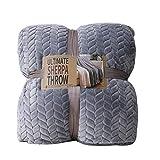 Skazi リバーシブル毛布 表面フランネル100% 裏面シープボア100% へたりにくい ふわふわ 軽くて暖かい 抗菌防臭 柔らかい優しいブランケット グレー(シングル:150×200cm)