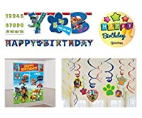 BashBox Paw Patrol Birthday Party Supplies Decor Pack Including Scene Setters Wall Decorating Kit Hanging Swirl Decorations and Customizable Banner [並行輸入品]