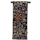 袋帯 振袖用 合繊 成人式などに 全通柄 華やかな柄の袋帯(合繊) 仕立て上がり「黒 華紋」TPF308