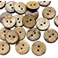 """Chenkou Craft 100pcs 1/2""""(13mm) Brown Natural Coconut Coco Button 2 Holes Craft Clothe Sewing (1/2""""(13mm))"""