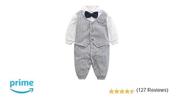 91257ea29c61e8 Amazon | エルフ ベビー(Fairy Baby) ベビーフォーマル ロンパース 80cm グレー ストライプ | 洋装フォーマル | ベビー&マタニティ  通販