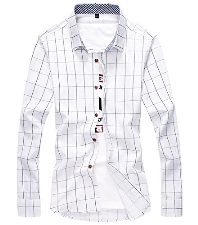 [スゴフィ]SGFY ドレスシャツ メンズ 長袖 スリム ビジネス カジュアル シンプル おしゃれ 襟付き カッターシャツ フィット チェック柄 (4XL, ホワイト)