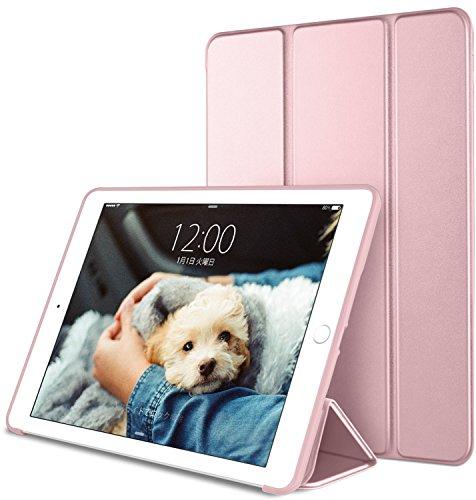 DTTO iPad Air2 ケース 超薄型 超軽量 生涯保証 TPU ソフト スマートカバー 三つ折り スタンド スマートキーボード対応 キズ防止 指紋防止 [オート スリープ/スリー プ解除] ローズゴールド