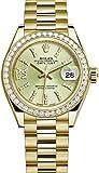 Rolex Lady Datejust 28?mm Lindenグリーンストライプダイヤル、イエローゴールド、ダイヤモンドダイヤルジュビリーブレスレット