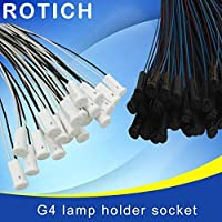 AiCheaX 10pcs、50CMクリスタルランプホルダーランプホルダーソケット、G4 led / G4 /バルブプラグ、12V 10-20W、照明アクセサリー-(色:白)