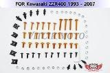 VITCIK カワサキ Kawasaki ZZR400 1993 - 2007 93 94 95 96 97 98 99 02 03 04 05 06 07 オートバイ用フルフェアリングボルトネジキット ファスナー CNC アルミクリップ (オレンジ色 & シルバー)