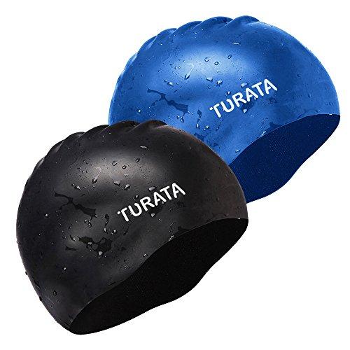 TURATA 水泳キャップ スイミングキャップ 防水キャップ 高弾性シリカゲル製 防水素材 環境保護 快適性 耐久性 男女共用 (ブラック/ブルー)