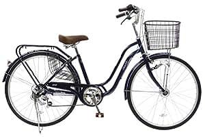 CHACLE(チャクル) 空気入れ不要! ノーパンク自転車 軽快車 26インチ [外装6段変速、S型ループフレーム、LEDオートライト、ローラーブレーキ] ネイビー FN-CC266WS-HD